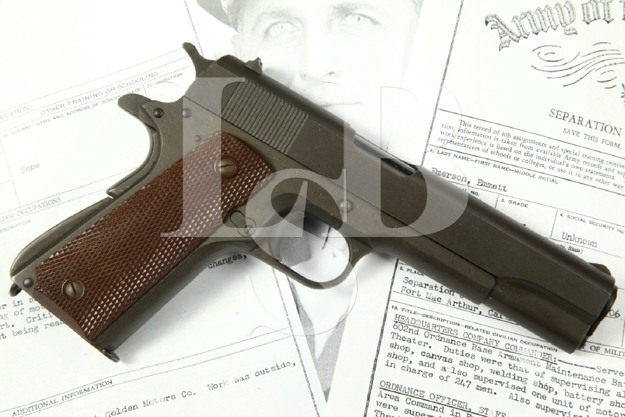 "Identified WWII Remington Rand Model 1911-A1 M1911A1, Parkerized 5"" Bringback SA Semi-Automatic Pistol, MFD 1944 C&R – .45 ACP"