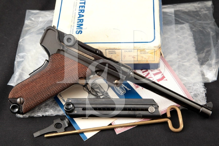 "Interarms Mauser Model American Eagle Luger 1929 Swiss Pattern, Blue 6"" SA Semi-Automatic Pistol & Box, MFD 1970's ATF C&R"
