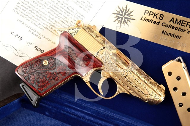 Interarms Walther PPK/S, Gold 3″ .380 ACP Pistol American Limited Collector Series #215 of 500