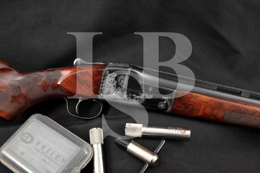 "Ithaca Gun Co. Model Knick Grade 4-E 4E Trap, Briley Choked, Engraved Blue 32"" -- Single Shot Shotgun & 3 Chokes, MFD 1948 C&R"