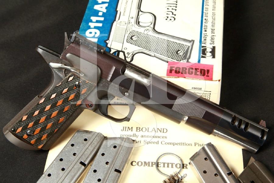 Jim Boland Custom Springfield 1911-A1 IPSC Race Gun 5″ Blue SA Semi-Automatic Pistol, Compensator & Box