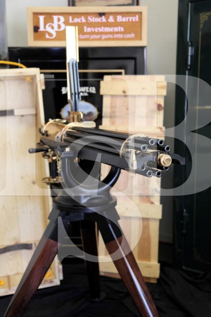 John Anderson Guncraft .45-70 Model 1874 Battery Gatling Gun, Full Size & Tripod