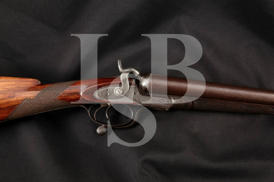 "John Rigby & Co. Model Exposed Hammer Class C, Case Colored & Damascus 30"" SxS Rotary-Underlever Shotgun, MFD 1880 Antique"