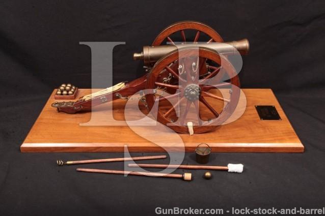 "Karl J Furr 1/6th Scale Miniature Napoleon Cannon Brass 8 1/2"" 6 Pound Cannon & Carriage, MFD 1967"