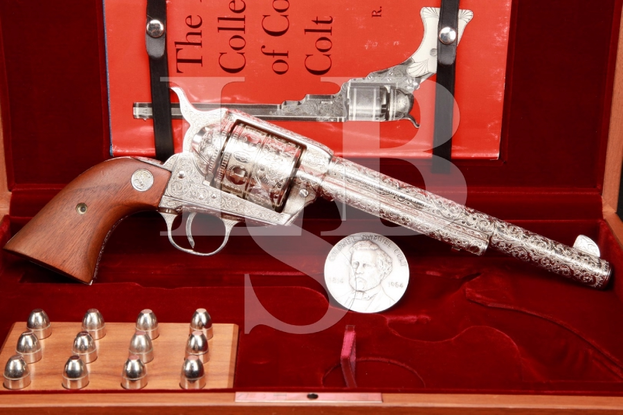 Kenny Majors Master Hand Engraved 2nd Generation Colt SAA, Nickeled .45 Single Action Army Revolver & Case, C&R
