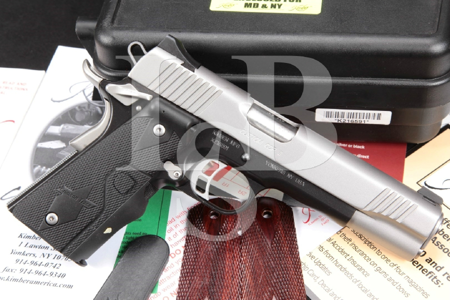 "Kimber Model Custom Defense Package CDP II, Duo Tone Satin Silver & KimPro Black Alloy 5"" Semi-Automatic Pistol, Laser Grips & Box, MFD 2007"