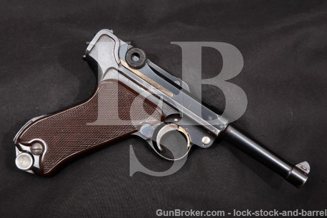 "Krieghoff 1940 Dated Model Luger P.08 P08 9mm 4"" Blue SA Semi-Automatic Pistol, MFD 1940 C&R"