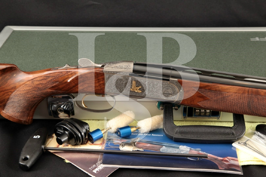"Krieghoff Model K20 Plantation Grade, Badillini Engraved & Gold Sculped, Blue 30"" Over / Under Shotgun, Hard Case & More, MFD 2005"