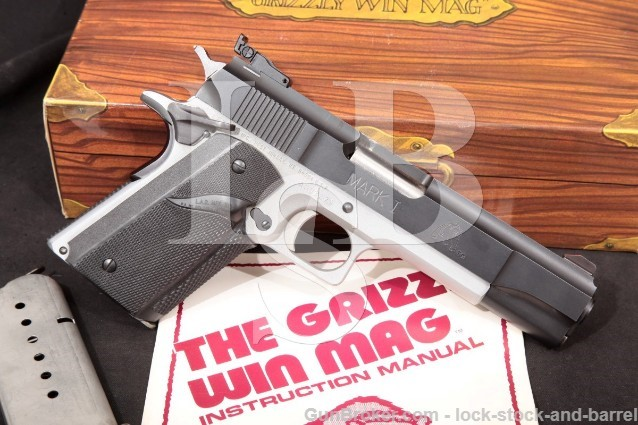 "L.A.R. LAR Grizzly Mark I MKI Blue & Chrome 5 1/2"" .45 Win Magnum Semi-Automatic Pistol & Box"