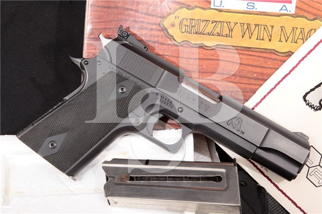 "L.A.R. LAR Manufacturing Mark IV Grizzly 44 Magnum Blue 5 1/4"" Ported Semi-Automatic Pistol Box & Mag"