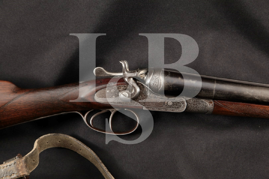 "Liegeois D'Armes FEU Belgian & Italian Proofed Sidelock, Engraved Blue 27 1/2"" Side by Side, Shotgun & Sling, MFD 1920's C&R"