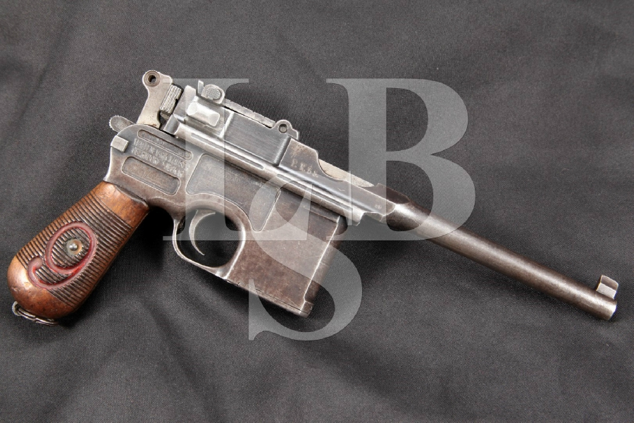 """MATCHING Mauser Oberndorf Neckar Model 1896 Broomhandle C96 'Red 9' Prussian Contract, Blue 5-1/2"""" Semi-Automatic, Unit Marked Pistol MFD 1916-18 C&R"""