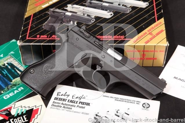 """Magnum Research IMI Baby Desert Eagle & Box 40 S&W Blue 4 1/4"""" Semi-Auto Pistol, MFD 1998-2008"""
