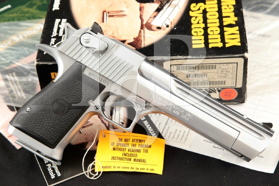 """Magnum Research Model Desert Eagle MK XIX Mark 19, Chrome 6"""" SA Semi-Automatic Pistol, Box & More, MFD 1996"""