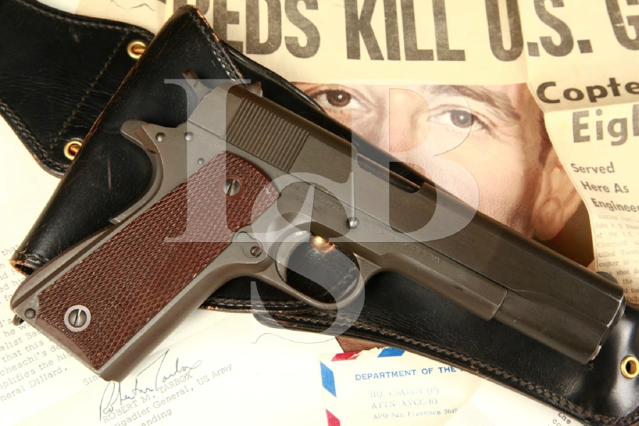 Maj. General John Dillard's WWII Colt 1911-A1 SA Semi-Automatic Pistol, Holster, Painting, Photos & Paperwork MFD 1942 C&R