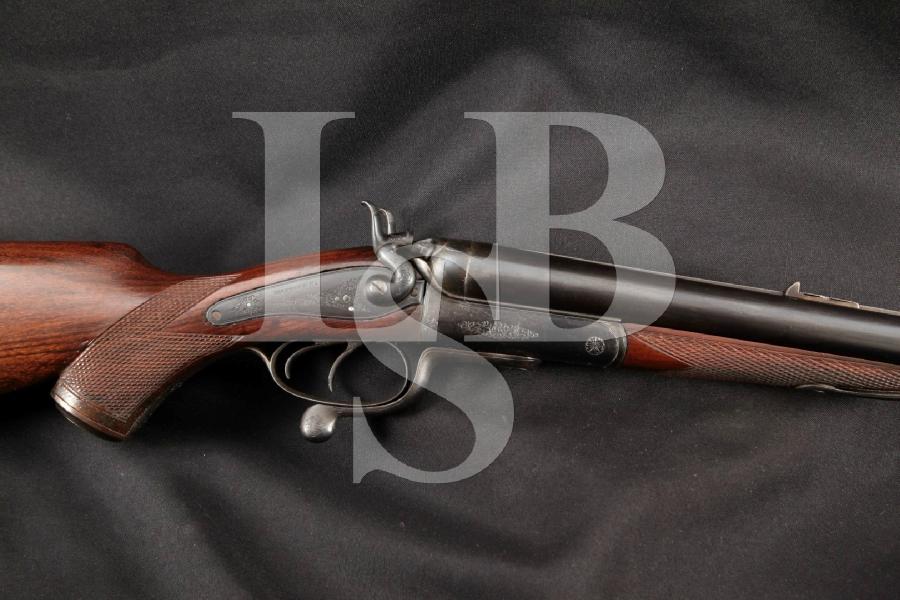 Manton & Company, London & Calcutta Big Game Safari, Blue 27″ Underlever External Hammer Double Rifle, Antique