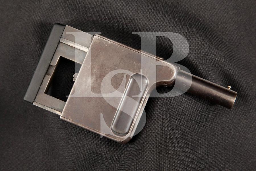 "Manufrance Model Gaulois No. 1 Squeeze Cocker Palm Pistol, Rare Blue 2 1/8"" DAO, Internal Magazine Fed Handgun, MFD 1900's C&R"