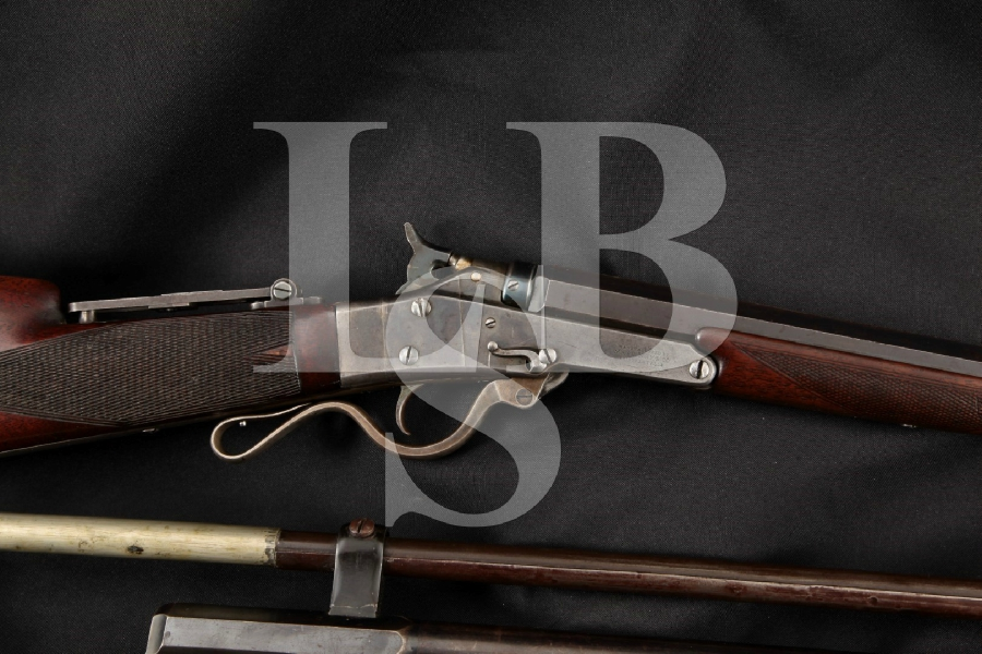 Massachusetts Arms Maynard 1873 Deluxe Target Model & Extra .22 Barrel, Blue & Case 25 3/4 & 28″ Single Shot Rifle & Scope, MFD 1870's Antique