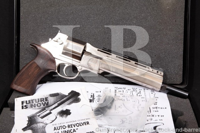 "Mateba Model 6 Unica Hunter Autorevolver .44 Mag Nickel 8 3/8"" Revolver, Case & More! MFD 2000"