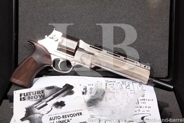 "Mateba Model 6 Unica Hunter Autorevolver .44 Mag Nickel 8 3/8"" Revolver, Case & More! MFD 2000"