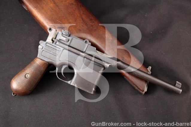 Mauser C96 Broomhandle Standard Wartime Commercial 7.63mm Semi-Automatic Pistol & Holster 1915-21 C&R
