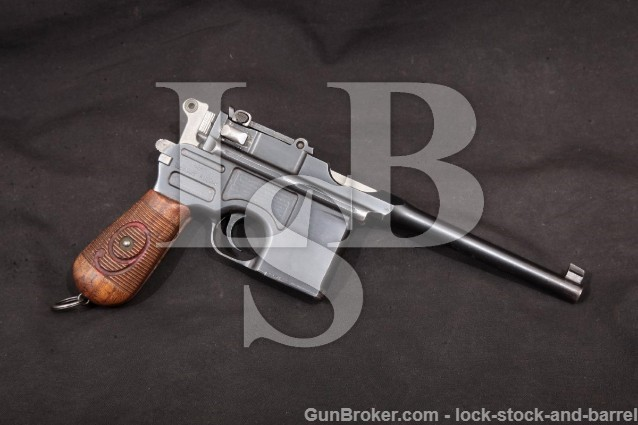 "Mauser C96 Prussian M1916 Red 9 Broomhandle C&R Blue 5 1/2"" Semi-Auto Pistol, 1916-1918 9mm Luger"