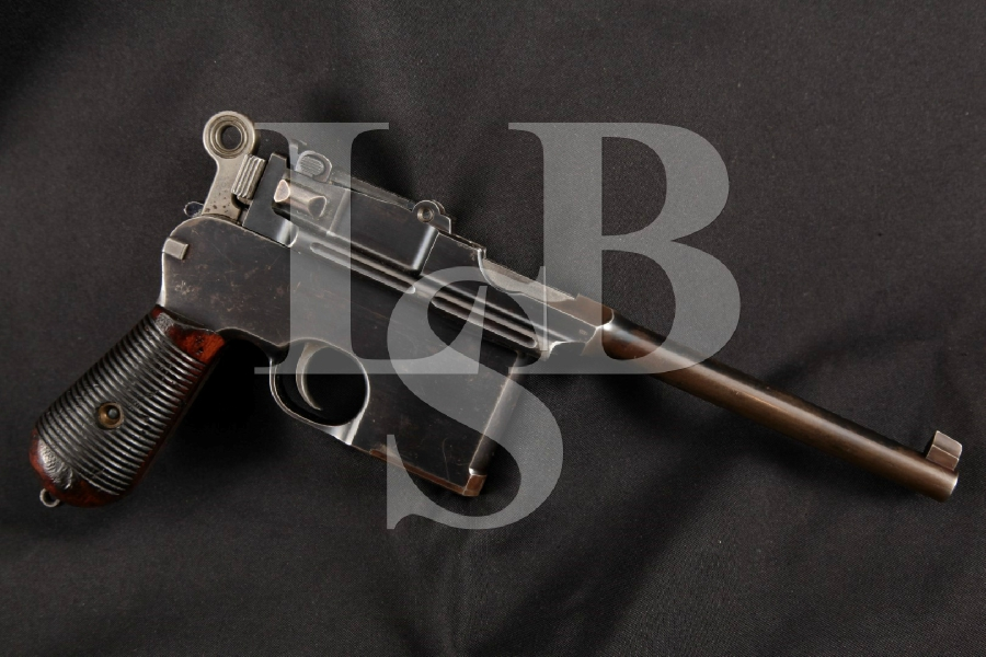 "Mauser Model 1896 C96 Broomhandle Late Flatside, Original Blue Finished 5 ½"" SA Semi-Automatic Pistol, MFD 1900 C&R"