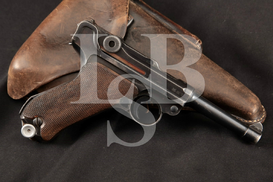 "Mauser Model 1934 42 Luger P.08, Nazi Marked, Parts Matching, Blue 4"" WWII Semi-Automatic Pistol & Holster, MFD 1940 C&R"