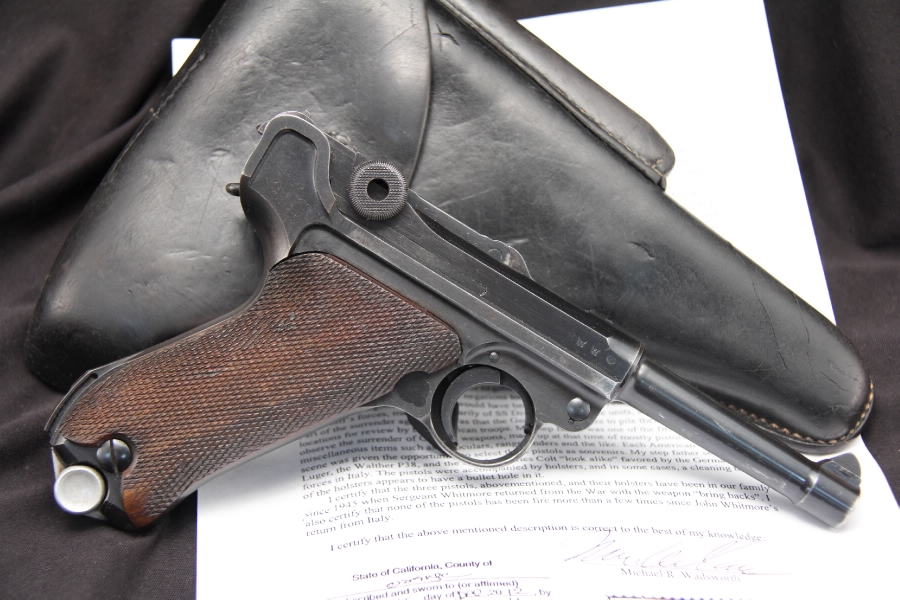 Mauser S/42 Dated Luger 9MM -- Matching Pistol, Holster WWII Documented Bringback