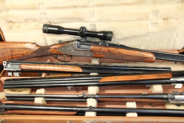 Merkel Model 202 E, 5 Barrel Set Shotgun & Rifle – 20 Ga. 12 Ga. .243 Win. 7×57 MM – 1940's C&R OK