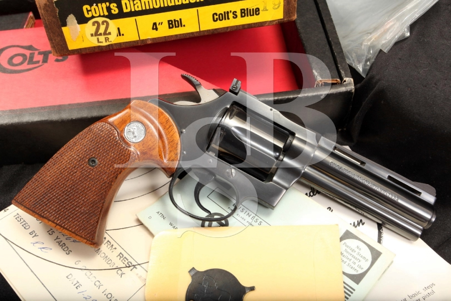 Mint Colt Diamondback .22 LR 4 Inch Double Action DA Revolver & Box Manufactured 1969