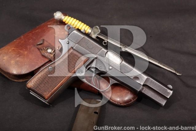 Nazi German FN Hi Power 640(b) WWII Bringback 1944 High-Power Pistol M1935, Holster & Dagger, C&R 9mm