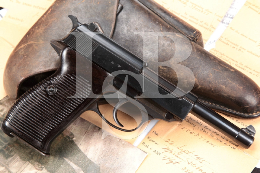 "Nazi Marked ac/41 WWII Bringback Walther Model P38, Matching Numbers, Blue 5"" Semi-Automatic Pistol & Holster, MFD 1941 C&R"