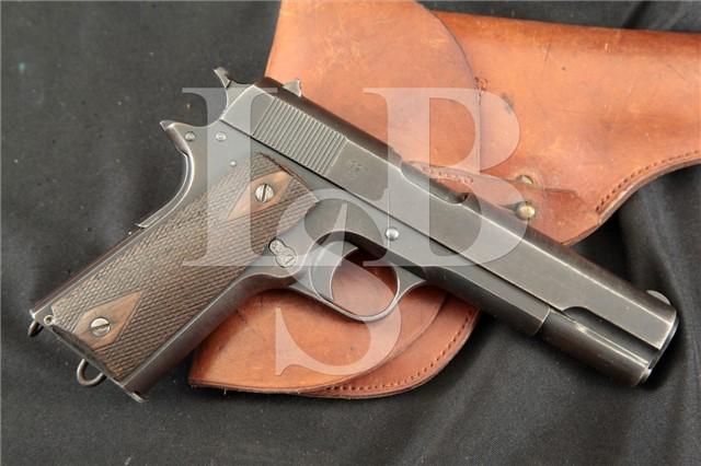 Norwegian 1914 Kongsberg Colt 11.25x23mm (.45) ACP RARE Semi-Automatic Pistol & Holster, MFD 1927 C&R