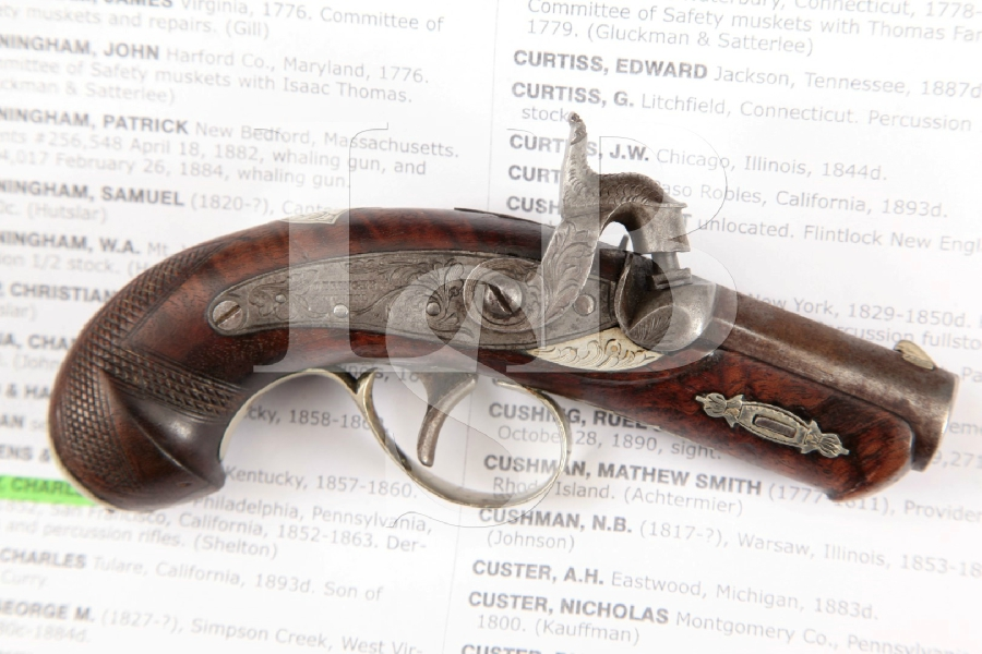 "Original Henry Deringer of Philadelphia, C. Curry San Francisco Marked Silver & Browned 1 5/8"" Single Shot Gold Rush Pistol MFD 1852-1863 Antique"