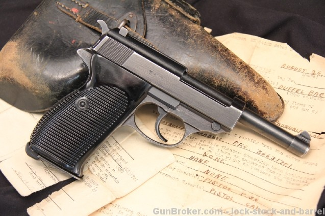 Walther P-38 byf44 Documented G.I. Bringback 9MM Semi Auto Pistol w/ Holster, Nazi Marked