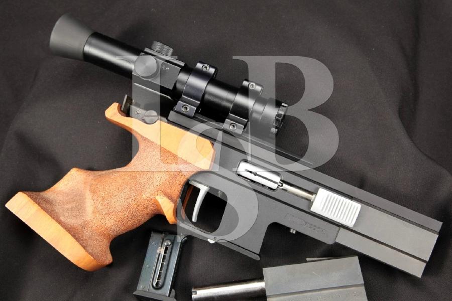 "Pardini Fiocchi Model SPE Olympic Target Pistol, Matte Gray 4-11/16"" & 4-13/16"" Semi-Automatic Pistol, 2 Magazines & Extra Barrel"