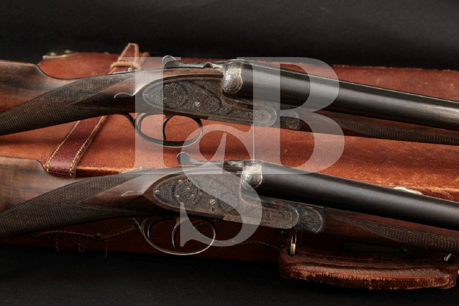 "Pedro Arrizabadaga of Spain, Dual Trigger Sidelock Set, Engraved Blue & Case Colored 28"" Side by Side SxS Shotguns & Luggage Case, MFD 1971"