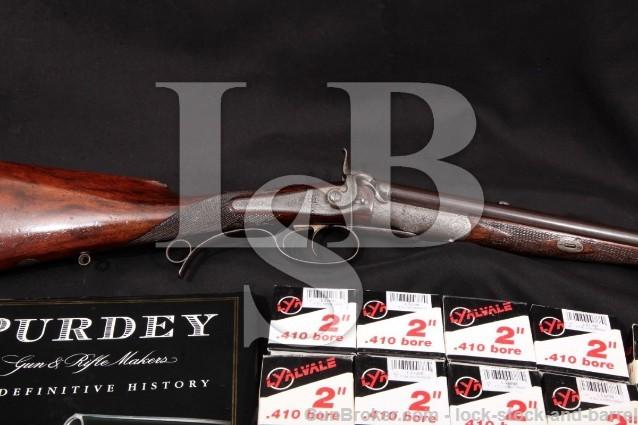 Purdey Converted Under-Lever Double Rifle, .410 Blue 24″ SXS Shotgun, Shells & Book, 1868 Antique