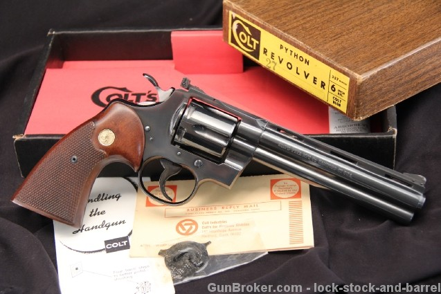 """Mint 6"""" Blued Colt Python .357 Magnum Double Action Revolver, Mf'd 1967 In The Wood Grain Box"""