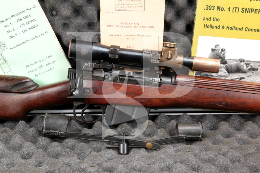 """RARE Enfield (Holland & Holland) No4 Mk1 (T) Sniper Rifle & Scope, Black 25"""" Import Marked Bolt Action Rifle, MFD 1944 C&R"""