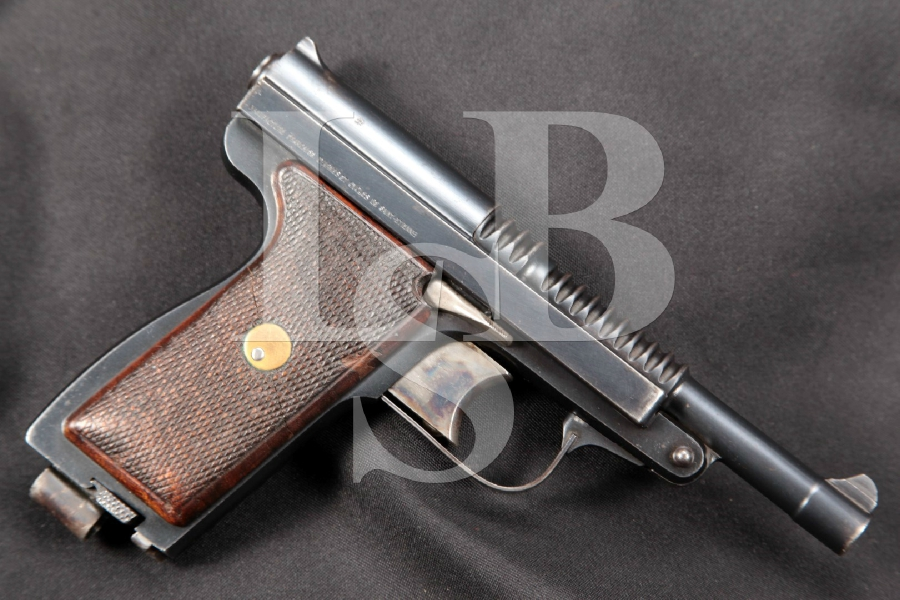"RARE Manufrance Model Le Francais Type Armee, Blue 5"" Semi-Automatic Tip-Up Pistol, MFD 1931-1939 C&R"