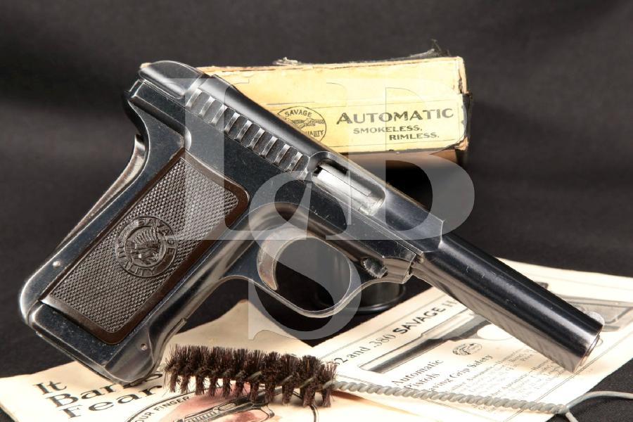 "RARE Savage Model 1915 Pocket Hammerless Automatic, Blue 4 ¼"" Semi-Automatic Pistol & Box, MFD Ca. 1915 C&R"