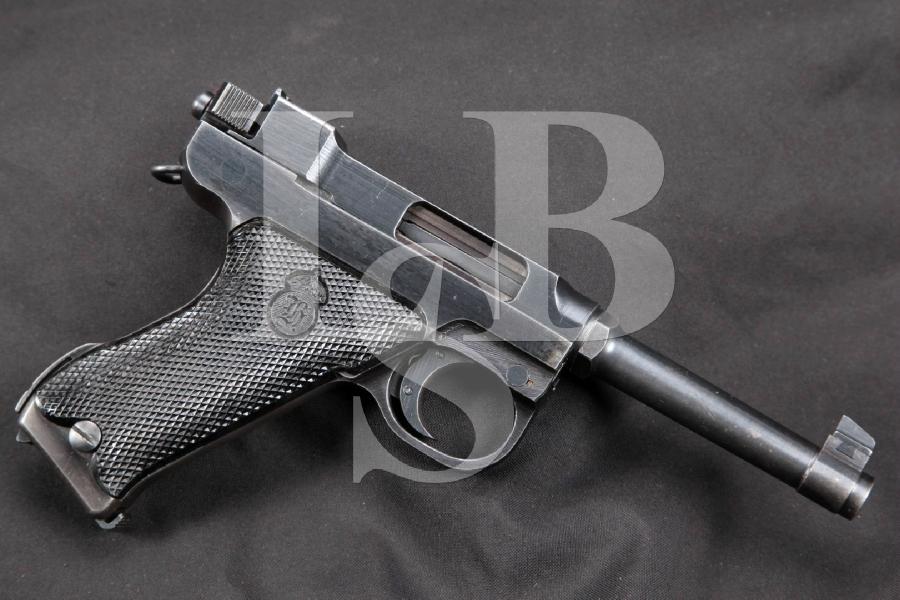 """RARE WWII Danish Marked Swedish Husqvarna Model M40 Lahti, Blue 4 3/4"""" SA Semi-Automatic Pistol, MFD 1944 C&R"""