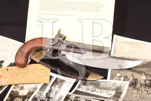 Rare C.B. Allen Elgin Cutlass/Knife Pistol & More Percussion Pistol & Holster/Sheath, 1837 Antique
