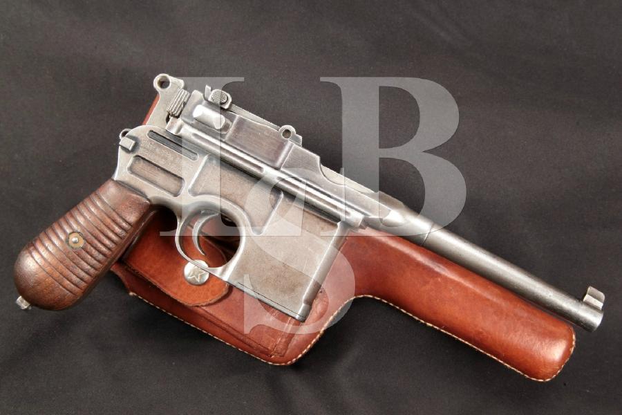 "Rare Mauser Model C96 1896 Broomhandle Model 1930 Transitional, 5.2"" Semi-Automatic Pistol & Holster, MFD 1930-32 C&R"