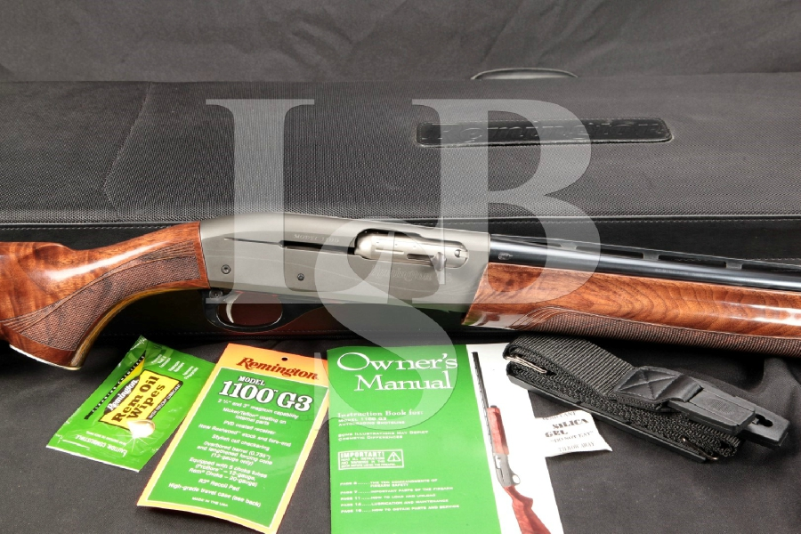 "Rare Remington Model 1100 G3, Engraved PVD Coated Receiver, Blue 26"" Semi Automatic Shotgun & Factory Presentation Case"