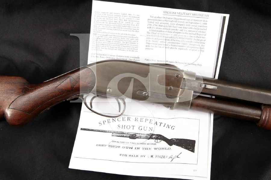 "Rare Spencer Arms Model 1886 Repeating Model, 1 of 10 Accepted by Army Ordnance Dept., 28 ¾"" Pump Action Shotgun & Paperwork, MFD 1887 Antique"