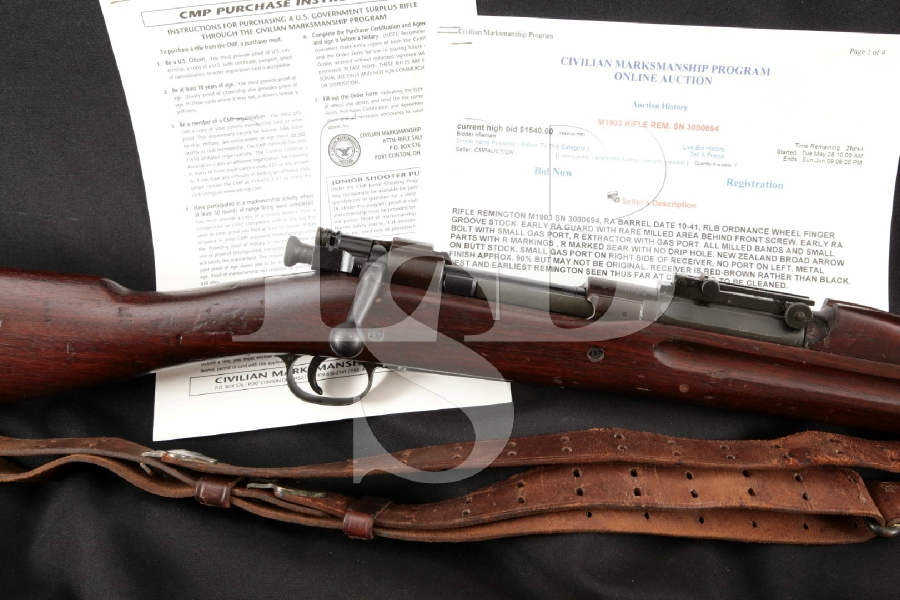 "Remington Model 1903, RARE New Zealand Lend Lease, Parkerized 24"" Bolt Action Military CMP Rifle, MFD 1941 C&R"
