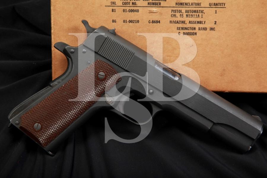 Remington Rand 1911-A1 1911A1 .45 ACP Semi-Automatic Pistol & Box, 1943 C&R
